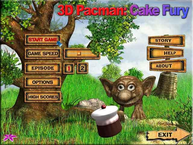 3D Pacman: Cake Fury - 3D Pacman faery arcade game for Windows 98-XP